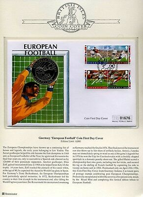 1996 Guernsey £5 European Football Coin cover Guernsey stamps SNo38781 limited