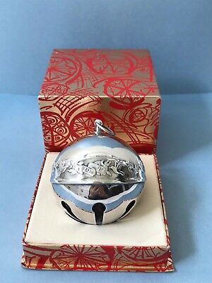 Wallace Silversmiths 1977 Silver Plated Christmas Sleigh Jingle Bell Ornament