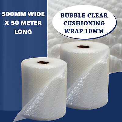 Bubble Clear Cushioning Wrap 500MmM x 50M Polycell P10 Plastic Cushions bubbles