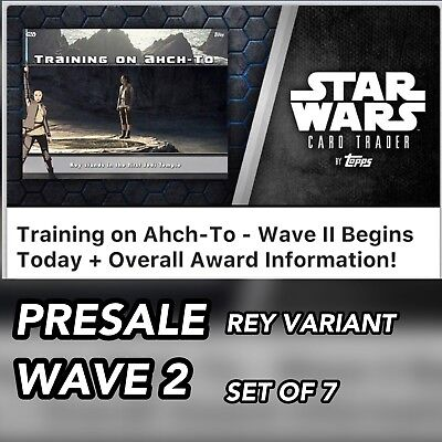 TRAINING ON AHCH-TO WAVE 2 REY VARIANT PRESALE SET OF 7 CARDS Star Wars Digital