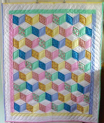 Amish Quilt For Sale - Amish Baby Quilt Tumbling Blocks Amish Quilt Pattern