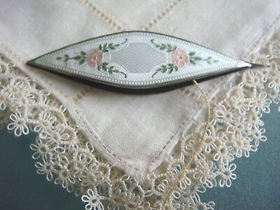 Rare 1885 Antique George Webster Victorian Sterling Rose Enamel Tatting Shuttle