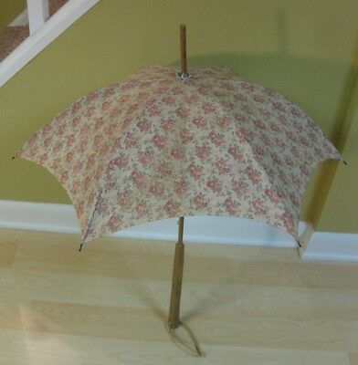 "Vintage Antique SMALL WOODEN HANDLE CLOTH UMBRELLA -28"" long-GREAT CONDITION"