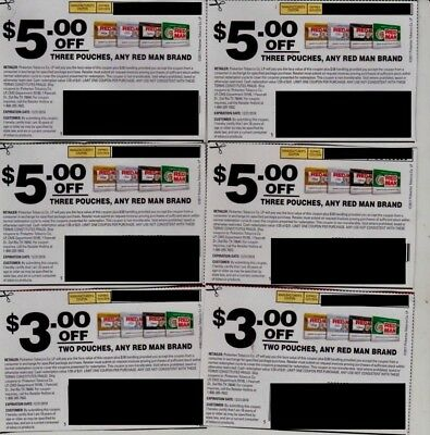 (6) Redman Chewing Tobacco Pouch Coupons Save $26! Red Man Skoal Copenhagen