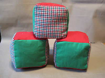 Soft Fabric Baby Blocks, Set of 3, Handmade, Red, Green, Holiday, New, Toy