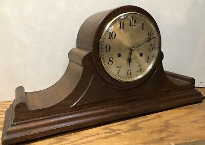 Large German HAC Hamburg American Oak Westminster Chime Mantle Table Clock