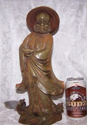 LARGE QING Fine Old Chinese Soapstone Carved Statue FIGURE DIETY BUDDHA ON WATER
