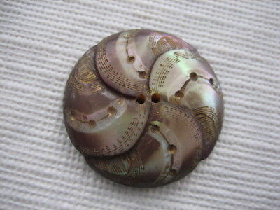 "Vintage Medium 1"" Iridescent Pinwheel Mother Of Pearl MOP Shell Button - PB58"