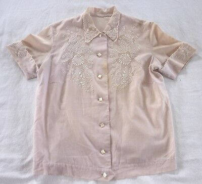 Vintage Early 1950's Embroidered Purple Cotton Blouse Made in Philippines