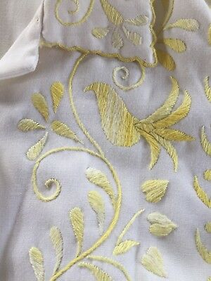 Vintage Early 1950's Hand Embroidered White Linen Blouse Made in Philippines