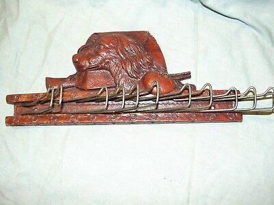 Antique Hunting WALL COAT RACK Carved Dog Hat Rifle Gun
