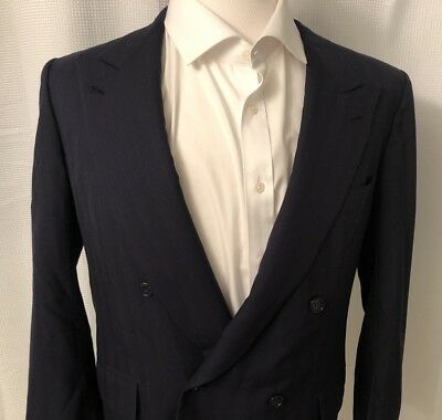 VINTAGE BRIONI FINISSIMO ITALY WOOL Double Breasted Pin Stripe BLAZER 40S