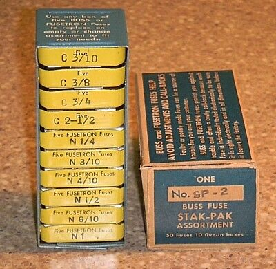Vintage Buss Fuse Kit Stak Pak Metal Cont. Holds 10-5 Pks for Tool or Glove Box