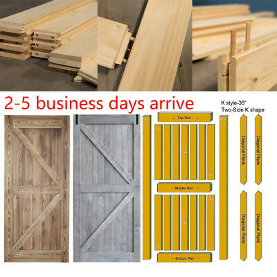 "36/42X84"" Rustic Reclaimed Pine Barn Wood Door DIY Interior + Hardware Track Set"