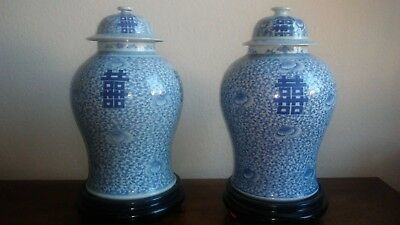 Large Antique Chinese Blue White Double Happiness Temple Jars 19th Century