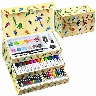 Kids Art Artist Set in a Box with Drawers Pens Pencils Crayons Paints 54 Pieces