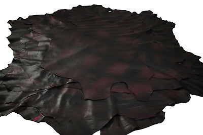 Two tone Black/Burgundy sheepskin leather hides Soft pliable 0.6 - 0.8 mm