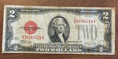 VINTAGE Series 1928 F and 1928 G $2 [Two Dollar] Bill Red Seal Legal Tender