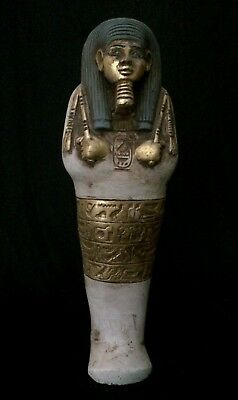 EGYPTIAN ANTIQUE ANCIENT EGYPT Shabti Ushabti STATUE Stone Plate GOLD 1630 BC