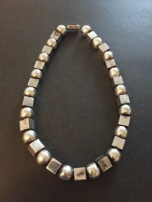 Vintage Heavy MEXICO Solid STERLING SILVER Square Beads Ball Necklace