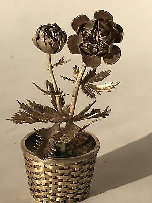 Vintage TIFFANY & CO Sterling Silver Roses Flower Figural Basket in Pot Mexico 4