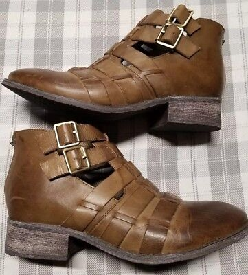 9eb21aeb4d0c Women s Antelope Brown Leather Ankle Boot US 6.5 EU 37 factory distressed  378
