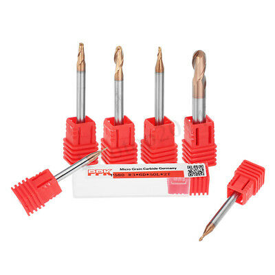 Drillpro R0.5-3mm 2 Flutes Ball Nose HRC58 AlTiN Coating End Mill Cutter Bit