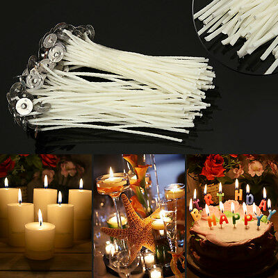 100pcs DIY Waxed Candle Making Wicks W/ Sustainers Cotton core Coreless Holder