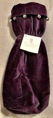Pottery Barn Aubergine Purple Velvet Wine Bottle HOLIDAY Gift Bag NEW With TAGS
