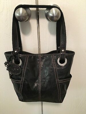 "Fossil ""Long Live Vintage"" Distressed Black Leather Hobo Bag - Excellent"