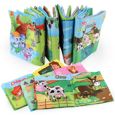 Baby Shower Bath English Cartoon Animal Cloth Book Early Educational Games Toy