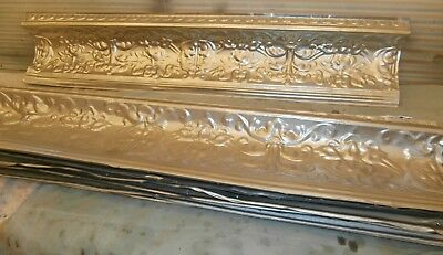 10 Antique ceiling tin crowns prettyornate floral pattern 48x10 painted & primed