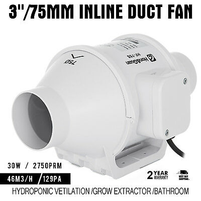 3in Inline Duct Fan Hydroponic Ventilation Blower Booster 110v Grow Extractor