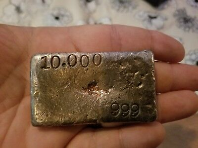 Vintage Hand Poured 10 Troy Oz .999+ Fine Silver Bar