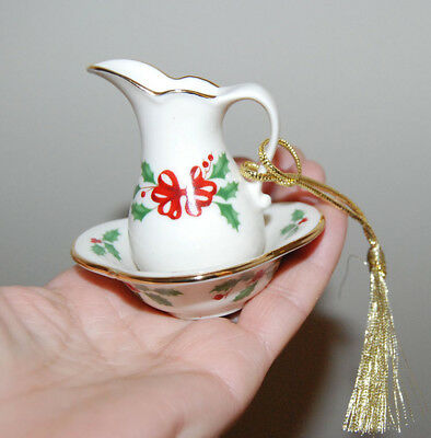 NEW LENOX CHRISTMAS HOLIDAY PITCHER & BOWL ORNAMENT WITH HOLLY free shipping