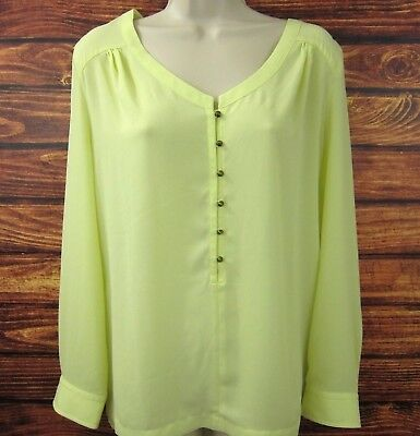 8d91ef785f867a Soft Surroundings Womens Blouse Yellow Button Down Polyester L/S Size Medium