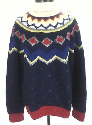 WOOL SWEATER Hand Knit Byford Blue Red Vintage Geometric w Hearts Womens XL RARE