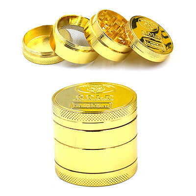 4 Piece Herb Spice Grinder Herbal Alloy Smoke Metal Chromium Crusher Gold Colour