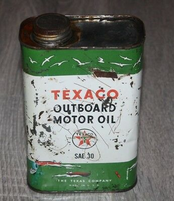 Vintage 1950's Empty Texaco Outboard Motor Oil Can
