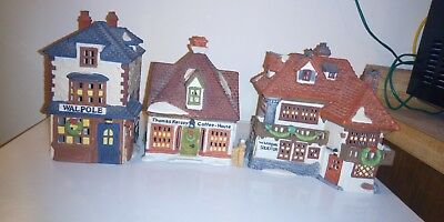 DEPT 56 LOT OF 3 VILLAGE DICKENS SERIES NO BOXES 1980s