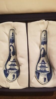 Antique Chinese Blue And White Porcelain Spoons