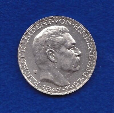 Silver Pattern Coin 5 Mark 1927 D KM X#1 Paul von Hindenburg (Design Karl Goetz)