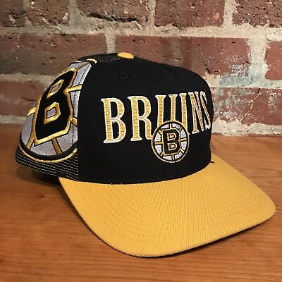 30dc61442868c Vintage Boston Bruins Laser Snapback Hat Cap NHL Black Dome Sports  Specialties