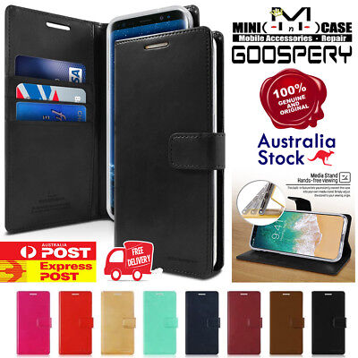 Samsung S9 S9 Plus Note 8 Note 9 Goospery Bluemoon Leather Flip Wallet Case