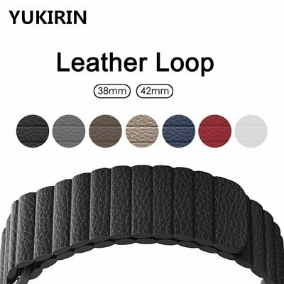 Leather Loop Band for Apple Watch IWatch 38mm 42 40 44 Strap Magnetic Closure