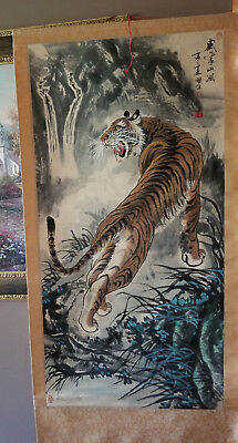 "Four Japanese Painted Scroll Wall Hangers (Large 53"" Fierce Tiger)"