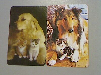 2 Swap/Playing Cards - Cute Dog with Kittens (Blank Backs)^^
