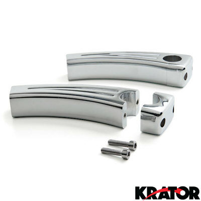 "New Custom Pair Chrome Motorcycle Cruiser 5.5"" Billet Handlebar Risers (1"" bar)"