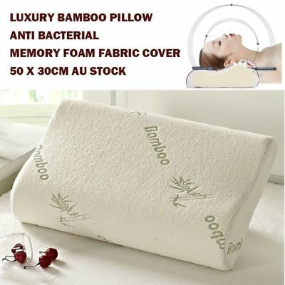 Luxury Bamboo Pillow Anti Bacterial Memory Foam Fabric Cover 50 X 30CM Badroom