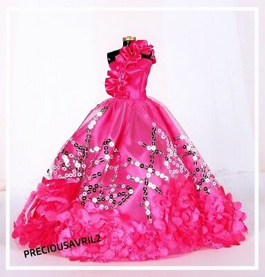 Brand new Barbie doll clothes outfit wedding red sequinned evening dress